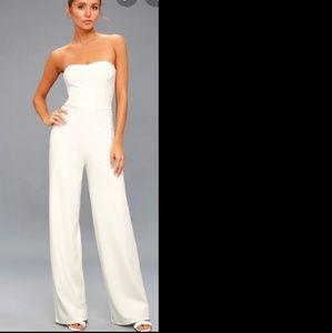 Lulu's Edith Pant Jumpsuit White NWT Large